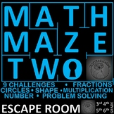 Maths Maze Two - Escape Room: Number and Shape, 9 Challenges, Print and Go