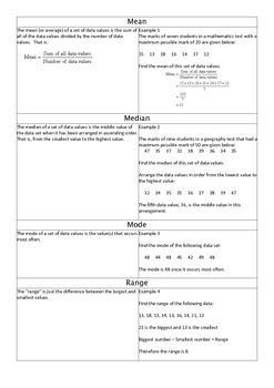 Maths - Mean, Medium, Mode and Range Information Sheet and Worksheet