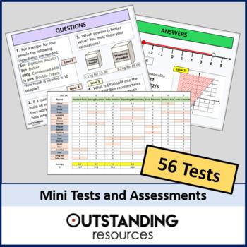 Maths: Mini Tests / Assessments (x56) - all different topics