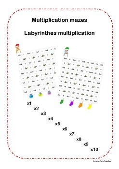 Maths Multiplication maze Christmas Labyrinthe Noël