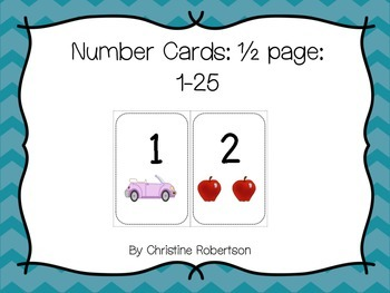 Maths Number Cards 1-25