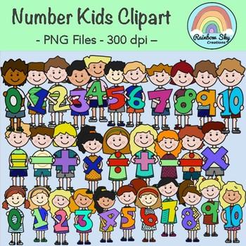 Maths Number Kids Clipart - Set for Teachers