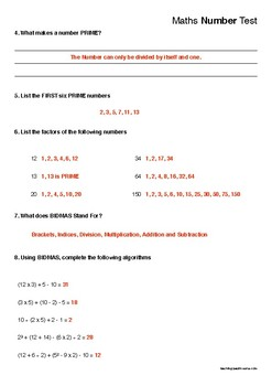Short Basic Number Test
