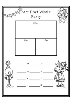 Maths Part Part Whole Party Page for Addition and Subtraction Free