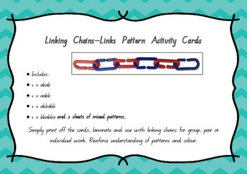 Maths Pattern Activity Cards using Links - Linking Chains
