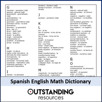 Portuguese English Maths Dictionary by Outstanding Resources