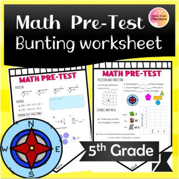 Maths Pre-Test Divison, BOMDAS, Equivalent Fractions, Chance, Data BUNTING!!!