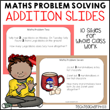 Math Problem Solving Stories Addition 10 bright fun slides