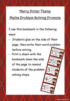 Maths Problem Solving Prompts Harry Potter Theme - bookmark