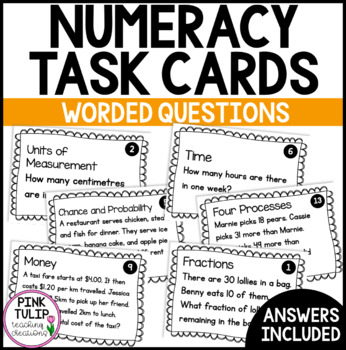 Maths Problem Solving Worded Question Task Cards