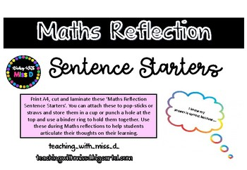 Maths Reflection Sentence Starters (FREEBIE)