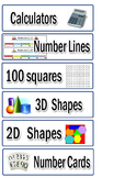 Maths Resource Tray Labels
