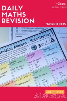 BUNDLE Math ALGEBRA 1 Revision Worksheets -FULL SET Add|Subtract|Multiply etc