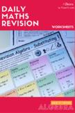 BUNDLE Math ALGEBRA 1 Revision Worksheets -FULL SET Add|Su
