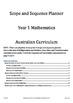 Maths Scope and Sequence - Australian Curriculum for Grade 1