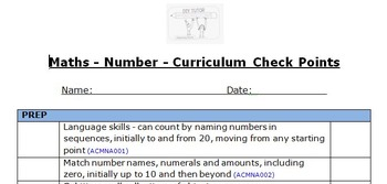 Maths Skills (Number) Checklist Prep-Yr 3 - Aligned to the Australian Curriculum