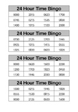 Maths Stage 3 24 hour time Bingo cards. FULL CLASS SET