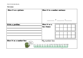 Maths Story Boards addition subtraction arrays tenframes number lines