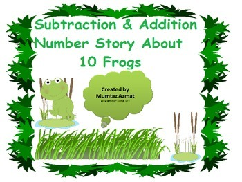 Maths Subtraction & Addition Number Story about 10 Frogs.