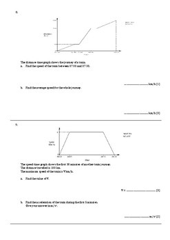Maths Test+Answers (IGCSE/GCSE): Straight line and Travel graphs, Limits of accu
