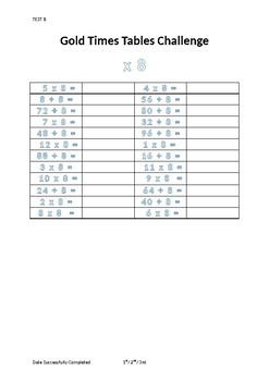 Maths Times Tables Tests Arithmetic Division Multiplication