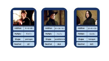 Maths Top Trump Cards: Harry Potter