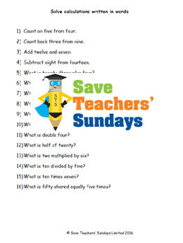 Maths Vocabulary lesson plans, worksheets and other teachi