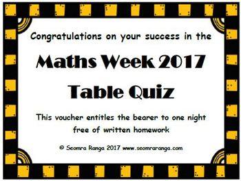 Maths Week 2017 Table Quiz (Senior)