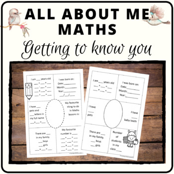 Maths about me activity covers number concepts  #ausbts18