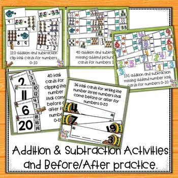 Maths - addition, subtraction, before & after, number matching, number bonds