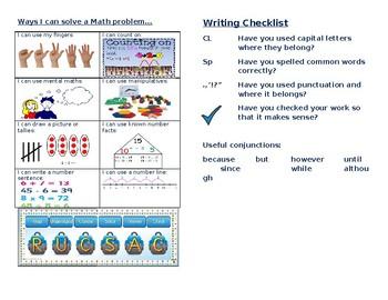 Maths and Writing Menu