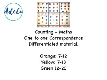 Maths, counting, one to one correspondence, printables, preschool, hands on