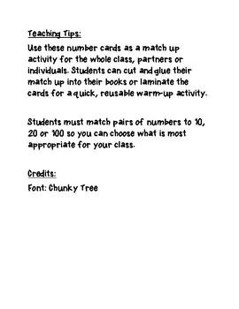 Maths facts match up *Freebie*