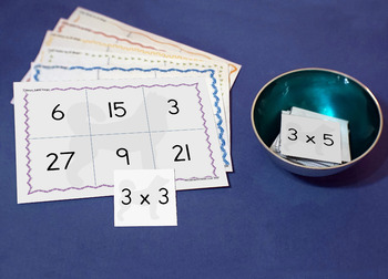 Math games: 2,3,4,5 and 10 times table bingo pack