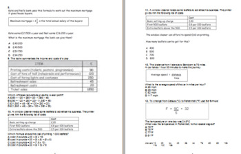 Maths multiple choice questions. Problem solving L2 with answers