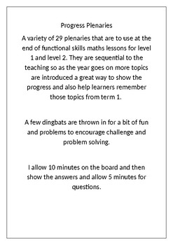 Maths plenaries - 28 plenary activities that progressively revise more topics