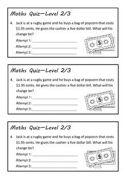 Maths quiz - level 2/3
