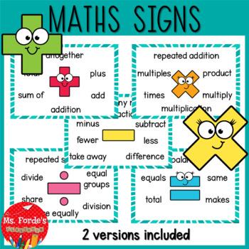 Maths signs ( +, -, x, ÷, =)