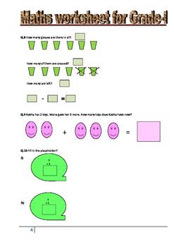 Maths worksheet for Grade 1