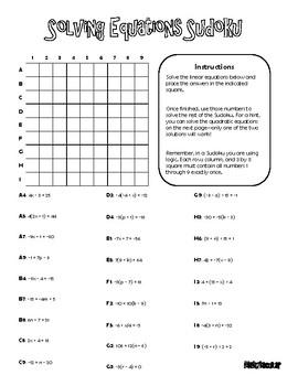 Mathtacular Solving Equations Sudoku Algebra 1 By Mathtacular