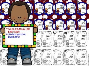 Mathtastic! 3 Digit Addition Task Cards FREEBIE!