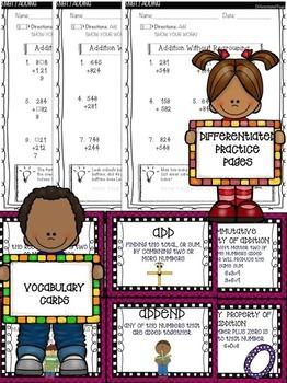 Mathtastic Addition Bundle: Interactive notebook, worksheets,  & task cards