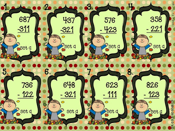 Mathtastic: Fall-Themed Subtraction Task Cards