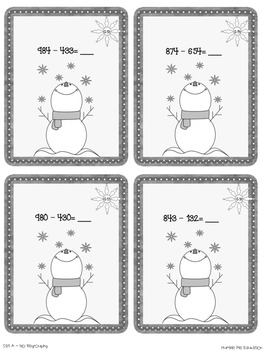 Mathtastic Winter Themed Subtraction Task Cards