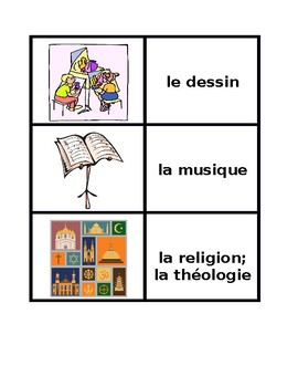 Matières (School subjects in French) Concentration games