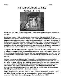 Matilda (1102 - 1167) Biography Article and (3) Assignments