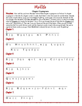 Matilda: 21 Chapter Title Cryptograms—Fun and challenging!