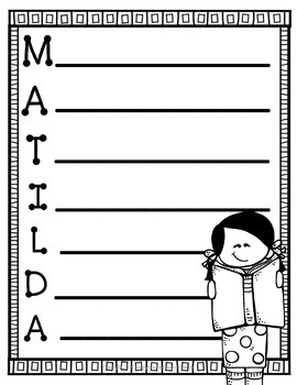 Matilda Writing Activity (5 Acrostic Poems) & FREE Matilda Word Search!
