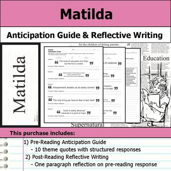 Matilda - Anticipation Guide & Reflection Writing