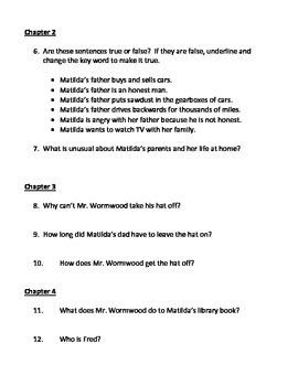 Matilda Book Unit - comprehension questions, vocabulary and essay prompts